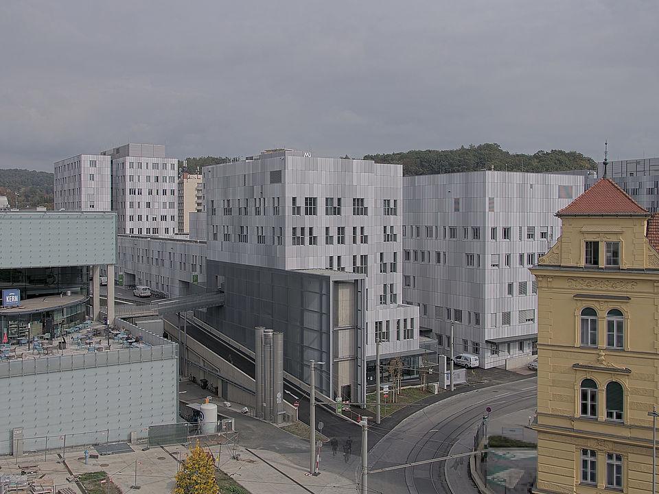 Livebild Baukamera 1 - Webcam 'Gesamtansicht von Westen' - Baustelle Neubau ZWT Accelerator, Zentrum für Wissens- und Technologietransfer am MED CAMPUS GRAZ (Standbild)